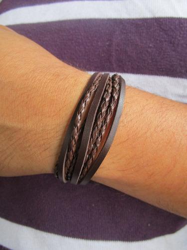 pulseira de couro trançado masculna/feminina