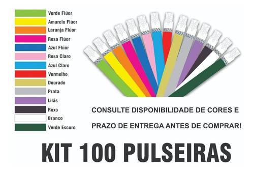 pulseira de identificação personalizada tyvek kit 100und