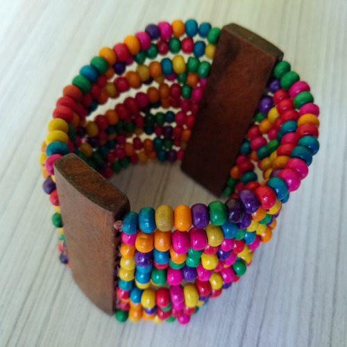 pulseira de madeira colorida ref: 6132