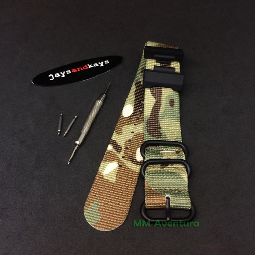 pulseira de nylon nato zulu 1 peça jaysandkays p/ g-shock gd350 gx56 gdx6900 c/ adaptadores, pinos e ferramenta + brinde