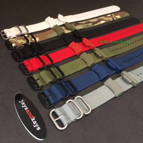 pulseira de nylon nato zulu jaysandkays p/ relógio g-shock 24mm c/ adaptador, pinos e ferramenta + brinde - varias cores