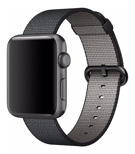 pulseira de nylon tecido p apple watch 42/44mm cinza c preto