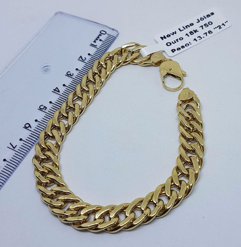 pulseira de ouro 18k 750 grumet duplos 21cm 13,76 gramas