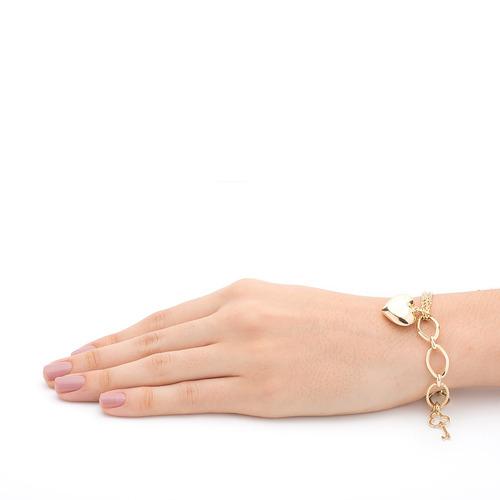 pulseira de ouro 18k coração chave com zircônias de 19cm pu0