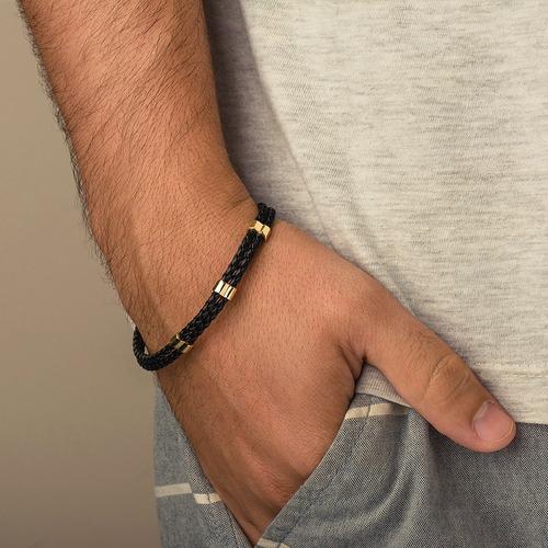 pulseira de ouro 18k couro com apliques pu03569