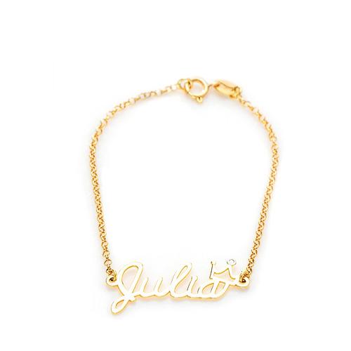 pulseira de ouro 18k infantil nome até 5 letras com coroa de