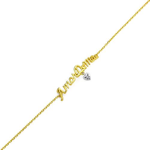 pulseira de ouro 18k nome amor de mãe com coração com 19cm p