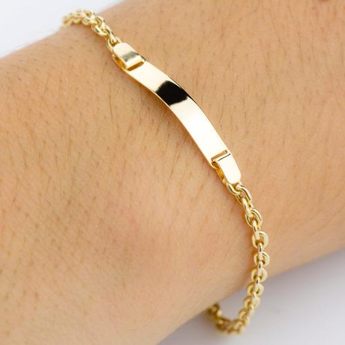 pulseira de ouro 18k placa infantil malha cartier com 15cm p