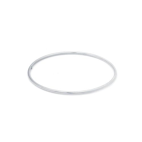 pulseira de ouro branco 18k algema lisa fio redondo pu03733
