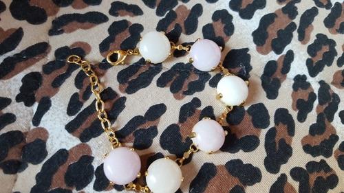 pulseira de ouro com pedras naturais rosa e branca