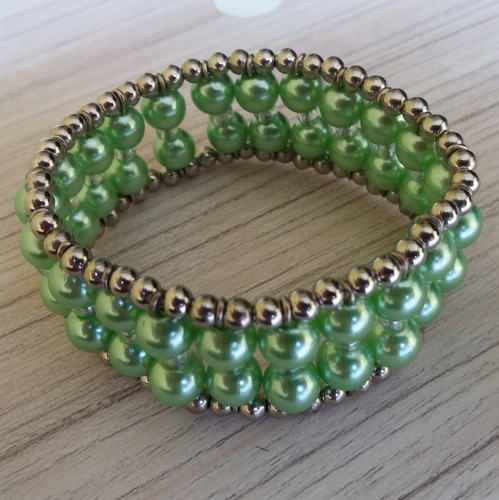 pulseira de perolas verde ref: 7607