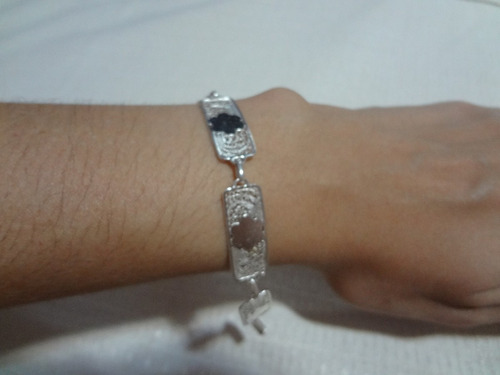 pulseira de placa prata