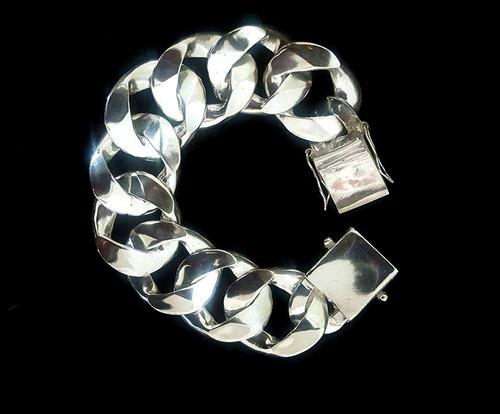 pulseira de prata 1x1 a mais grossa masculina 925 28mm