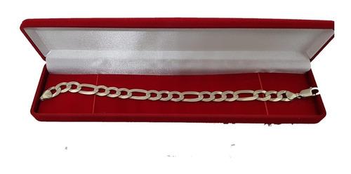 pulseira de prata 3 x 1 masculina 10 mm, 21 cm, 17 gr linda