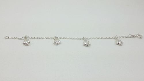 pulseira de prata infantil - peixinhos