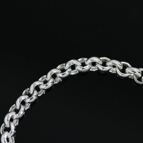 pulseira de prata + ródio elo portugues feminina 18,50 cm