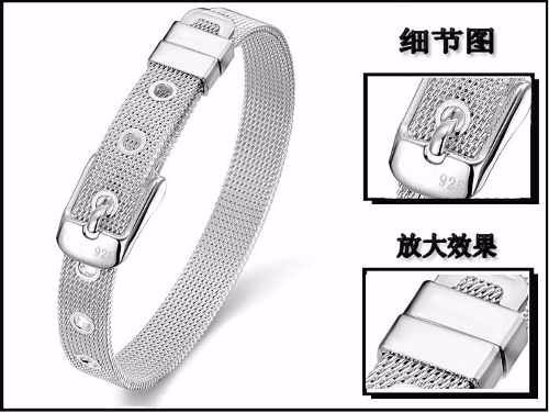 pulseira de pulso prata 925 delicado suave bg900