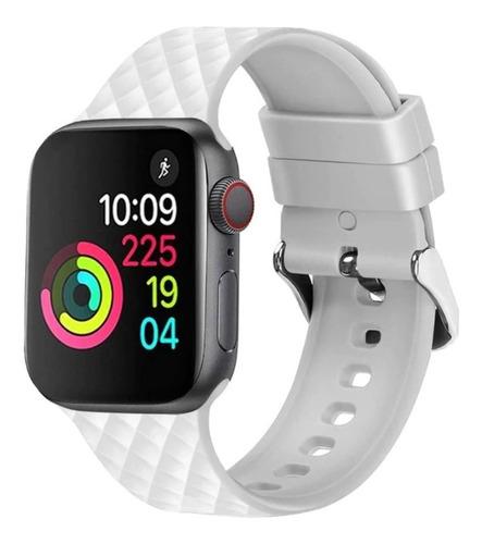 pulseira de silicone 3d para apple watch 42/44mm - branca