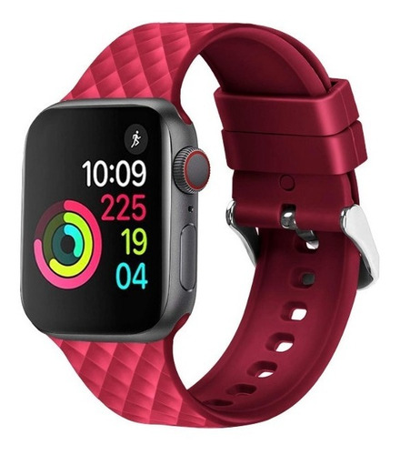 pulseira de silicone 3d para apple watch 42/44mm - rose red