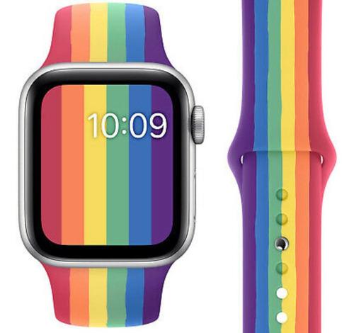 pulseira de silicone para apple watch 42/44mm - pride