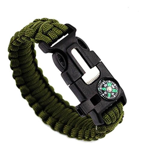 pulseira de sobrevivência verde, pederneira, paracord