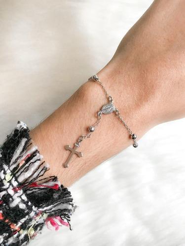 pulseira de terço prata delicada com fecho regulável
