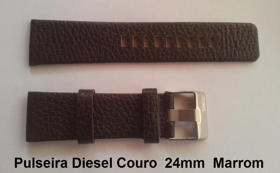 f4dcd68e67f Pulseira Diesel 24mm Couro Marrom Dz1139