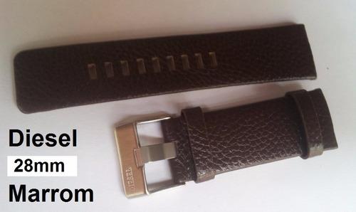 pulseira diesel 28mm couro marrom gravada c/ fivela prata