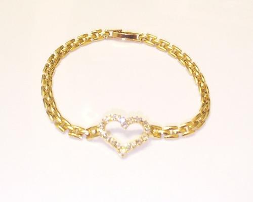 pulseira dourada, banhada, coração com strass
