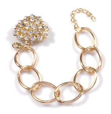 pulseira dourada coração de strass