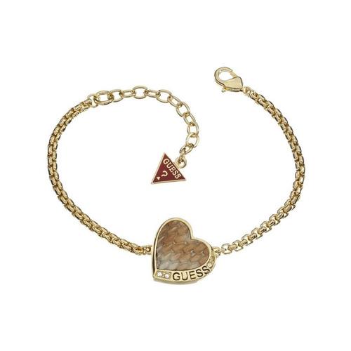 pulseira dourado coração guess original
