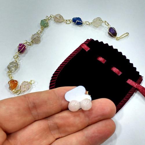 pulseira e brincos de quartzo rosa pedras naturais do brasil