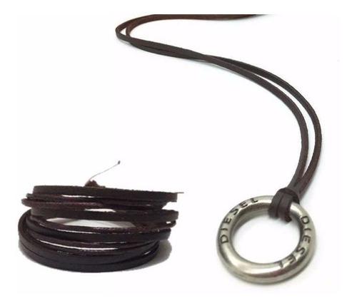 pulseira  e colar cordão ajustável  masculino feminino