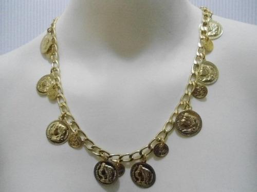 pulseira e colar estilo cigana dourada