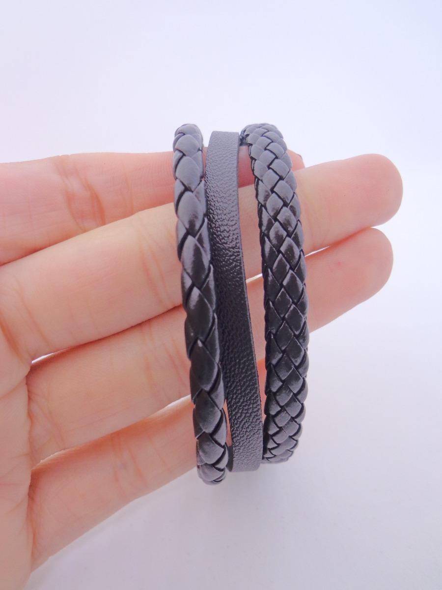 4d32fa645d pulseira eco-couro 2 tiras trançadas e 1 lisa. Carregando zoom.