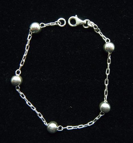 pulseira elo bolinha especial gd prata de lei 925 di grande