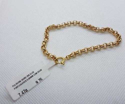 pulseira elos portugueses em ouro 18k 750 20cm 7,47g