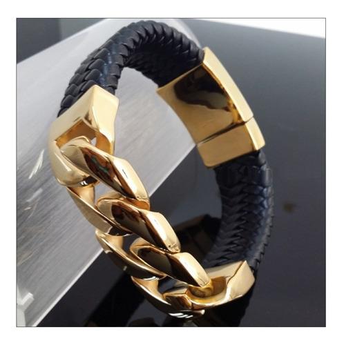 pulseira em aço cirúrgico dourada com couro masculina