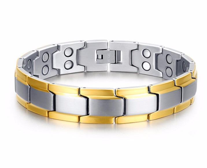 b9561529175 Pulseira Em Aço Com Banho Em Ouro 18 K Magnética Antistress - R  129 ...
