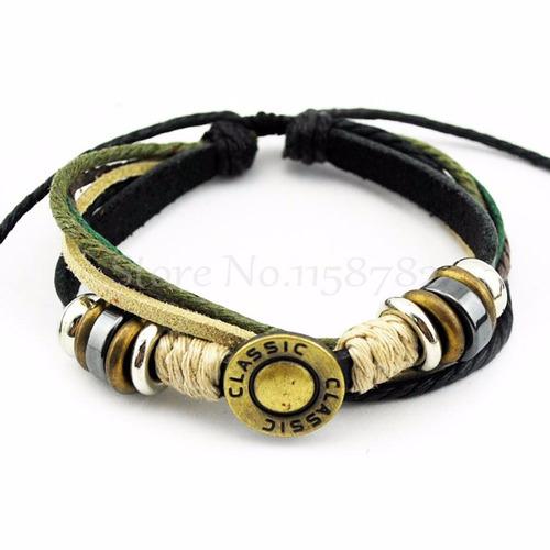 pulseira em couro classic unissex ajustável