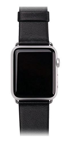 pulseira em couro legítimo para apple watch 42/44mm - preta