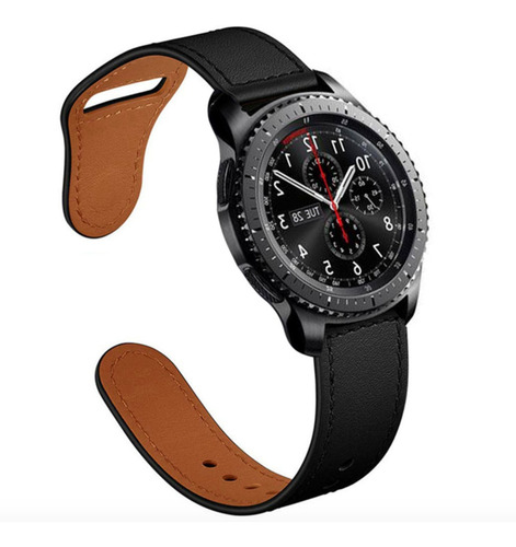 pulseira em couro luxo para samsung galaxy watch 46mm preta