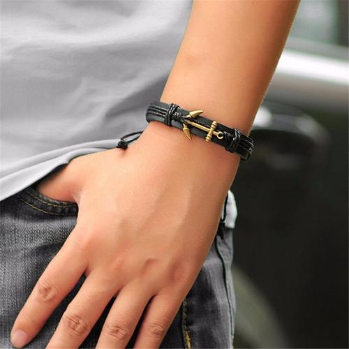 pulseira em couro marrom genuino ancora prata cd1260