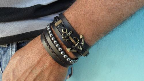 pulseira em couro âncora com hematita