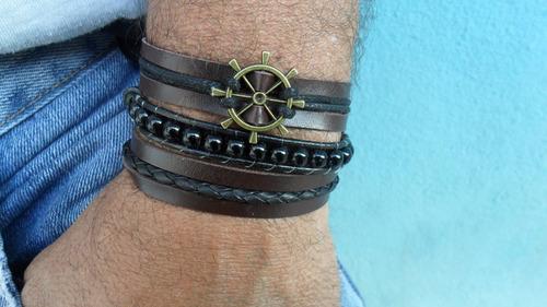 pulseira em couro timão com shanluu preta