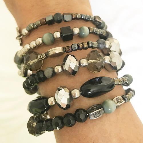pulseira em cristais e pedras - paris