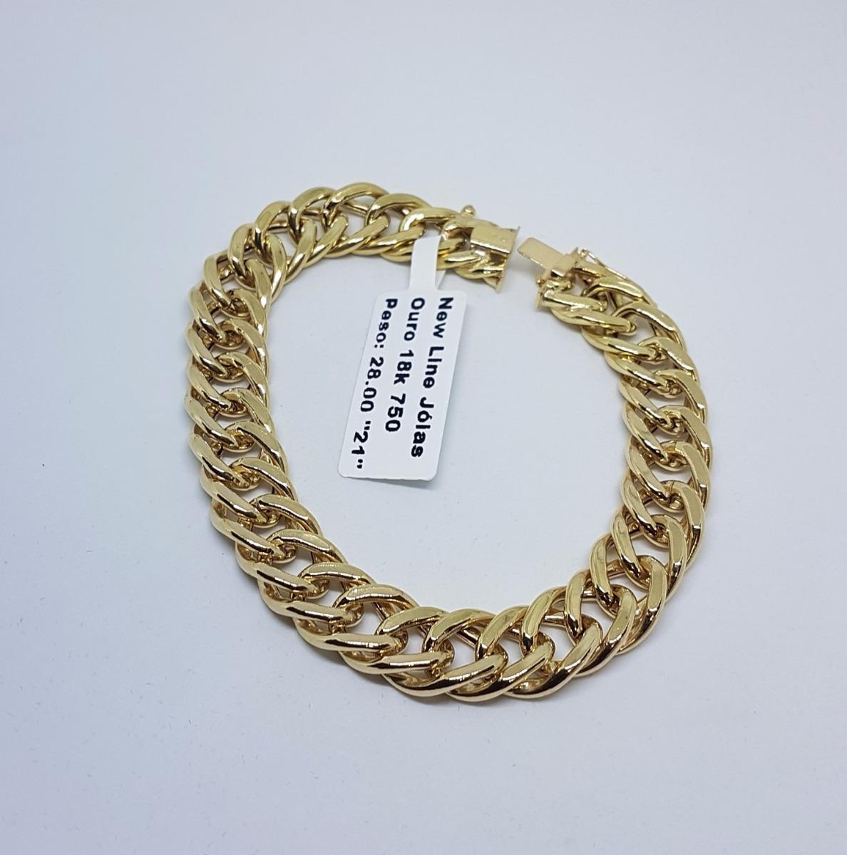 fa707945a50b4 pulseira em ouro 18k 750 grumet duplo 28g 19cm elos grandes. Carregando zoom .