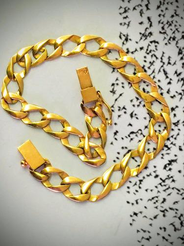 pulseira em ouro 18k - 8.3 gramas _ 20cm. comp.- 8mm. larg.