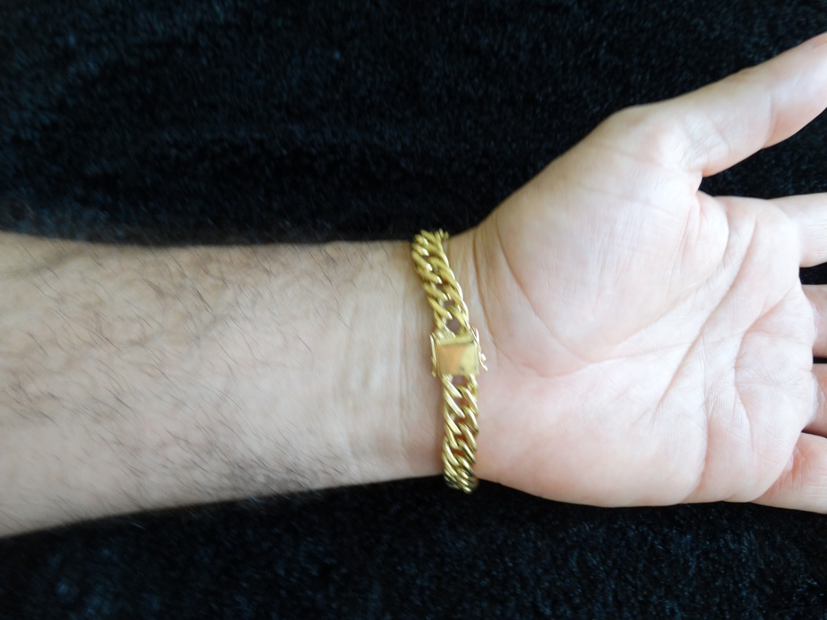 eaae8568c43bf pulseira em ouro amarelo 18k grumet oca 17.5g masculina. Carregando zoom.