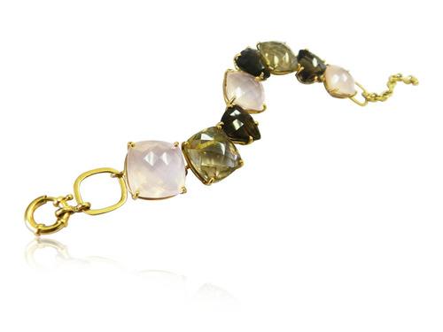 pulseira em ouro e pedras naturais. quartzo natural.